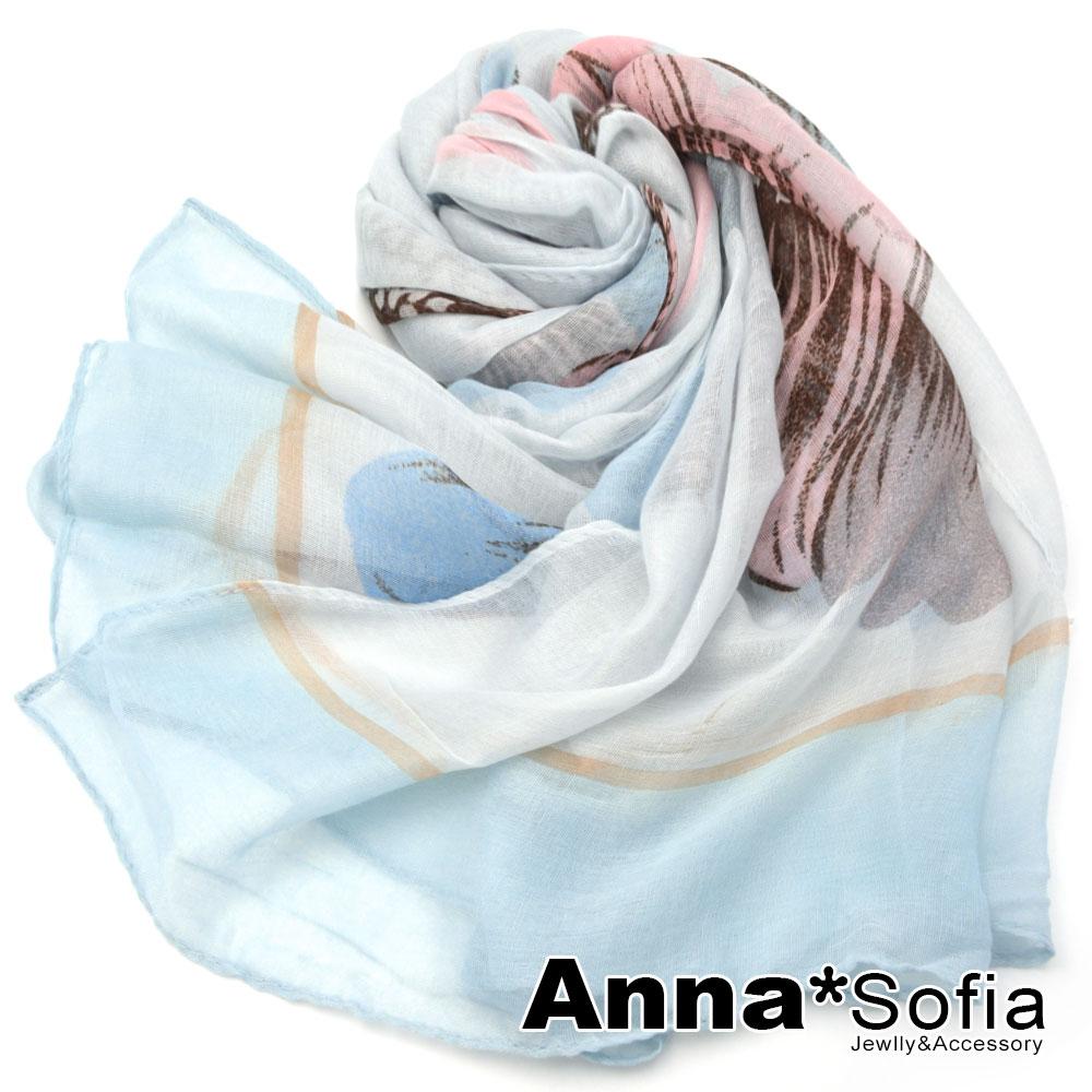 【2件450】AnnaSofia 霓彩陽葵 巴黎紗披肩圍巾(粉白淺藍系)