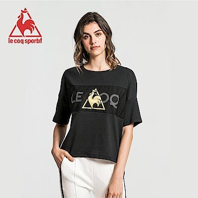 le coq sportif 法國公雞牌胸前網布拼接圓領寬版短袖T恤 女-黑