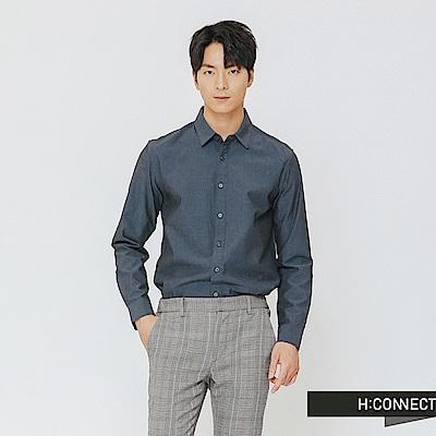 H:CONNECT 韓國品牌 男裝-素面柔軟棉質襯衫-藍
