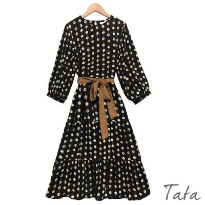 撞色圓點長洋裝(附綁帶) TATA-F