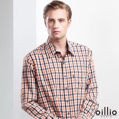 oillio歐洲貴族 男裝 長袖簡約小格紋襯衫 口袋貼心搭配 舒適透氣 純棉布料 吸濕排汗 橘色