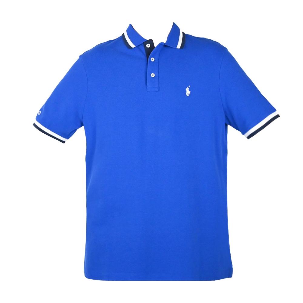 Ralph Lauren 經典刺繡小馬滾邊男款POLO衫-寶藍