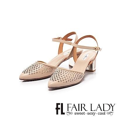 Fair Lady 優雅小姐Miss Elegant 縷空繫帶尖頭粗跟涼鞋 卡其