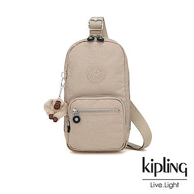 Kipling 溫暖奶茶色單肩迷你拉鍊斜背包-BLAKE
