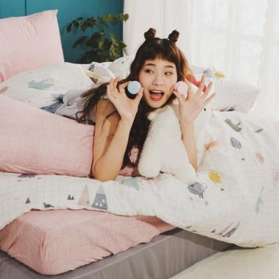 絲薇諾 MIT精梳純棉  白日夢櫻粉  雙人5尺-薄被套床包四件組