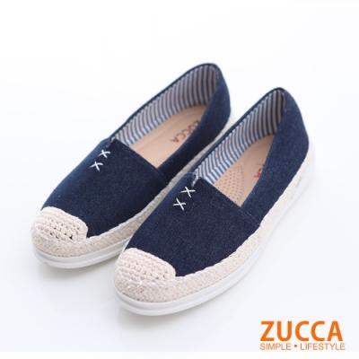 ZUCCA-編織縫線平底包鞋-藍-z6320db