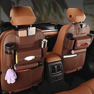 威力鯨車神 頂級內裝手工皮製汽車椅背收納袋_椅背置物袋_皮革時尚品味款(咖啡色)