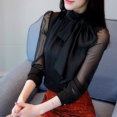 DABI韓國風名媛氣質蝴蝶結雪紡衫蕾絲衫長袖上衣
