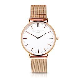 Elie Beaumont 英國時尚手錶牛津米蘭錶帶系列 白錶盤x玫瑰金色錶帶錶框38mm