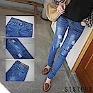 破損刷色彈力顯瘦窄管牛仔褲 (M-3L) SISTERS