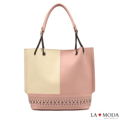 La Moda 質感拼接大容量鉚釘裝飾肩背托特包(粉/杏)