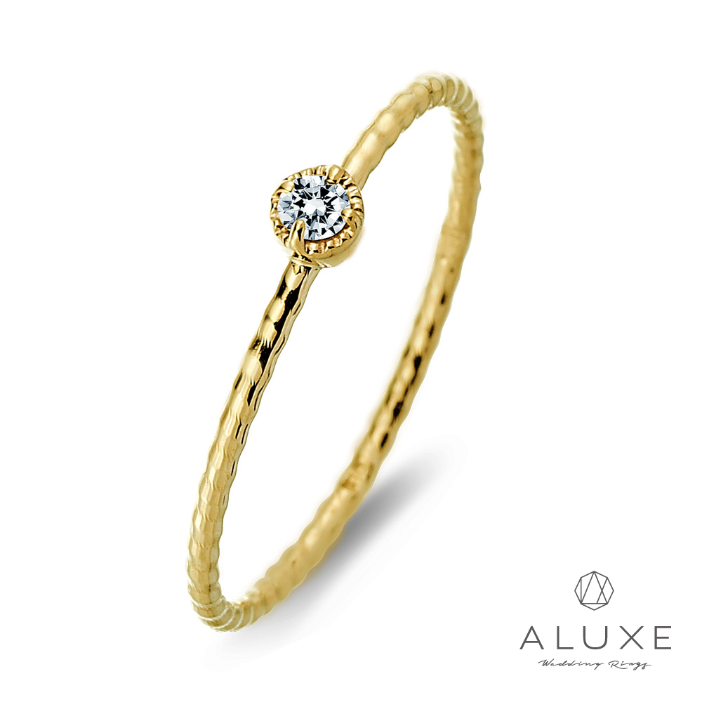 A-LUXE 亞立詩 Shine輕珠寶10K黃金單顆美鑽線戒女戒