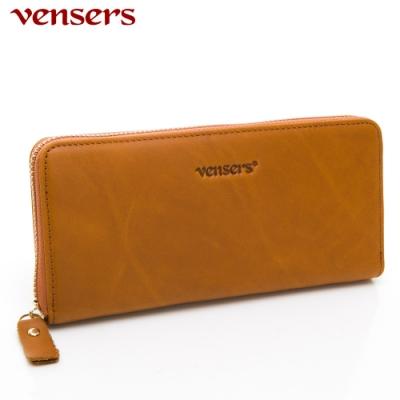 【vensers】小牛皮潮流個性皮夾~(NB0887511淺棕長夾)