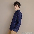 GIORDANO 男裝法蘭絨溫暖磨毛長袖襯衫-21 寶藍/紅/藍格紋