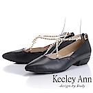 Keeley Ann 氣質甜美~華麗珠寶交叉全真皮平低跟鞋(黑色)