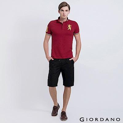 GIORDANO 男裝純棉抽繩鬆緊腰休閒短褲-09 標誌黑