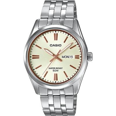 CASIO 卡西歐 城市日曆手錶-香檳金x銀(MTP-1335D-9AV)
