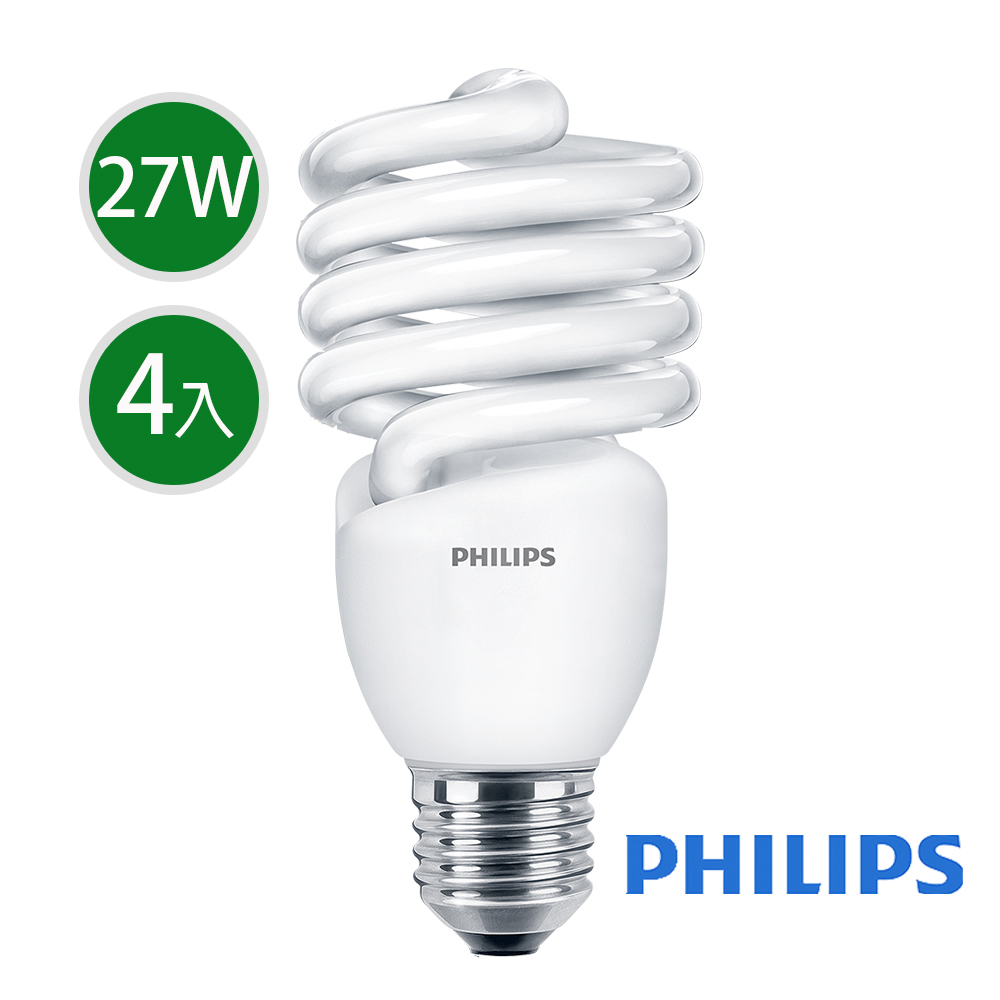 飛利浦 Tornado 螺旋省電燈泡T2 27W E27 120V 黃光 (4入組)