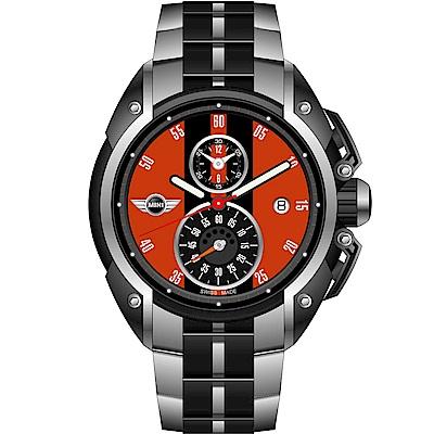 MINI Swiss Watches跑旅時尚計時腕錶(MINI-15)-橘x金屬帶款