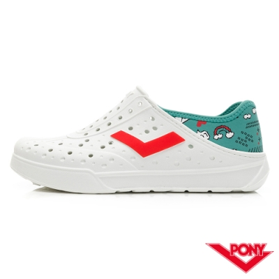 【PONY】ENJOY系列洞洞鞋-中性款-數位/綠