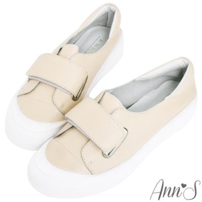 Ann'S餅乾家族-魔鬼氈全真皮小白鞋-奶茶杏