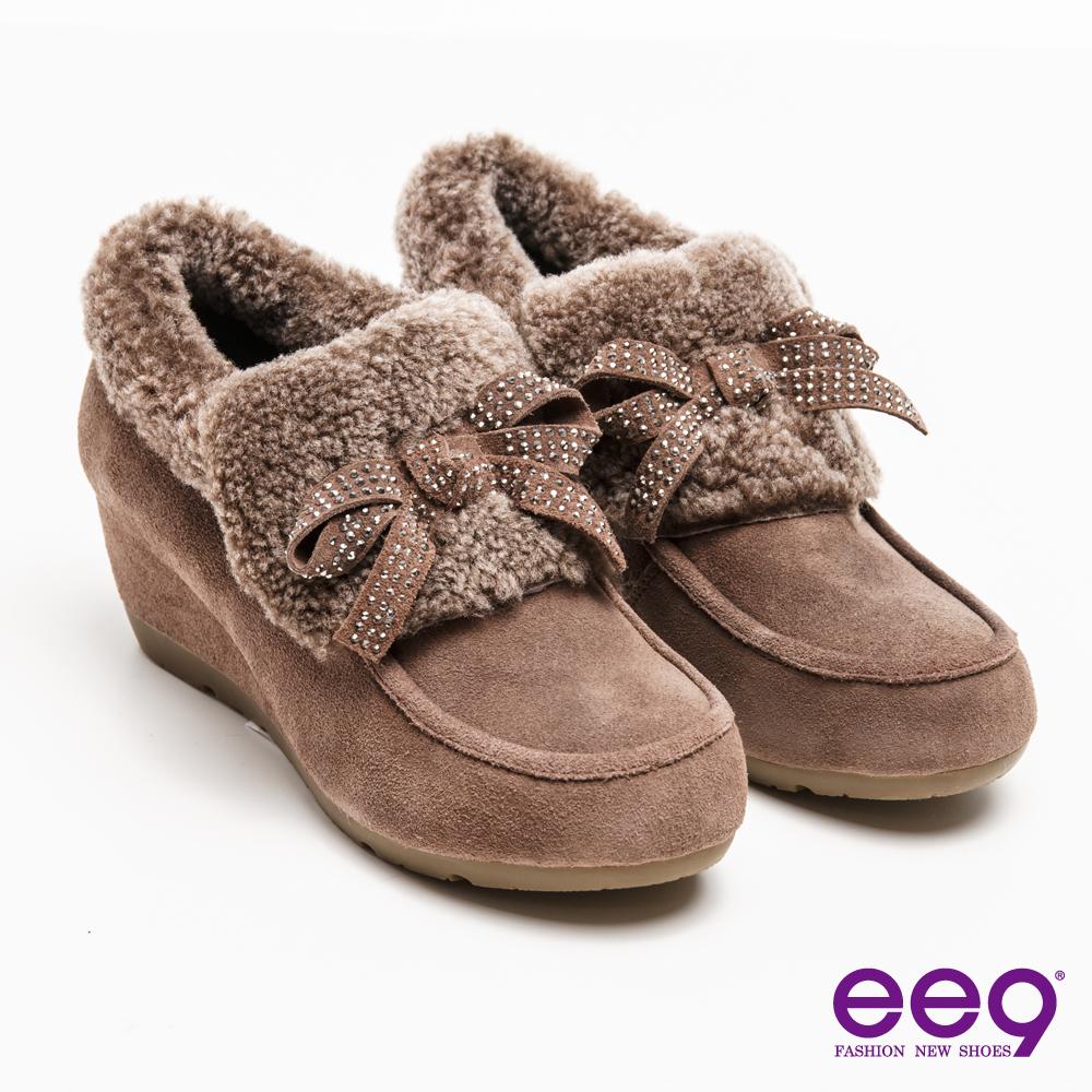 ee9迷人丰采~閃耀珠鑽蝴蝶結素面柔軟兔毛平底踝靴*灰色