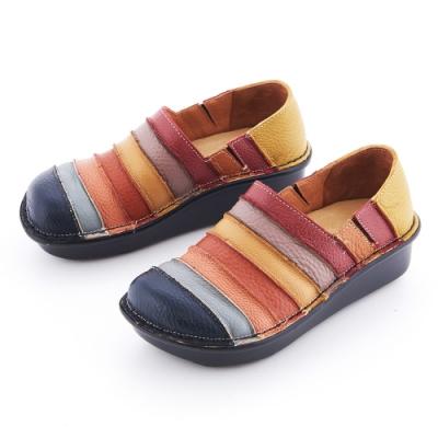 G.Ms. MIT系列-彩虹條紋拼接全牛皮厚底懶人鞋-深藍色