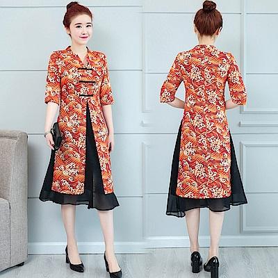 復古立領假兩件旗袍洋裝M-3XL(共兩色)-REKO