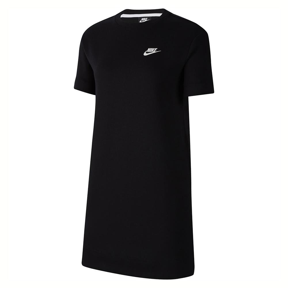 NIKE 長版上衣  運動 休閒 短袖  黑 女款 CJ3874010 AS W NSW TCH FLC DRESS