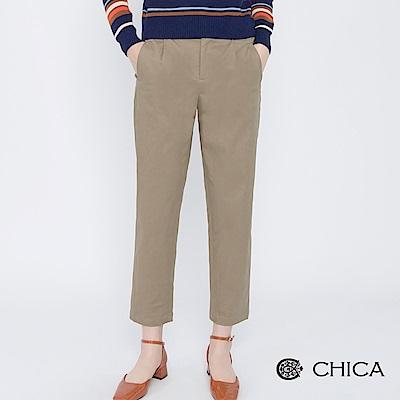 CHICA 知性日常打褶九分口袋老爺褲(2色)
