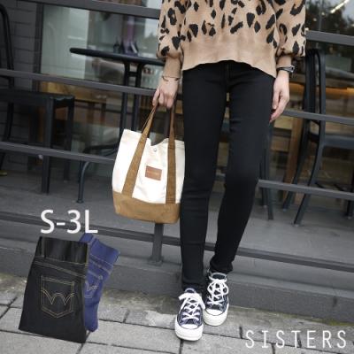 收腹窄管SKINNY立體車線超顯瘦長褲牛仔褲(S-3L) SISTERS