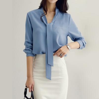 2F韓衣-簡約領帶點綴素色造型上衣-2色-(S-2XL)