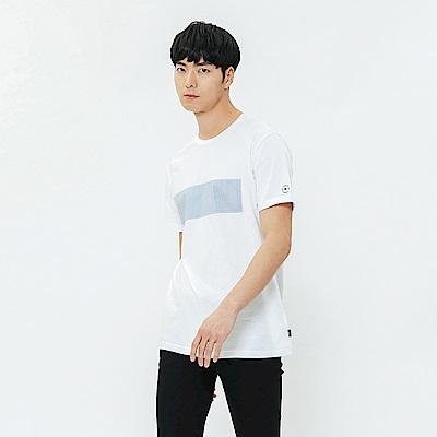 H:CONNECT 韓國品牌 男裝-拼接條紋圓領上衣-白