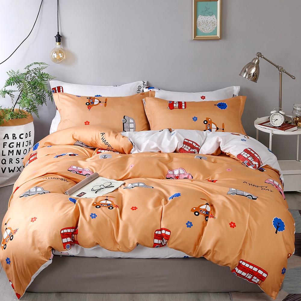 Goelia 城市車車 親膚舒柔活性印染超細纖雙人床包枕套三件組