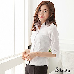EELADY中大碼-簡約設計七分袖襯衫-六色