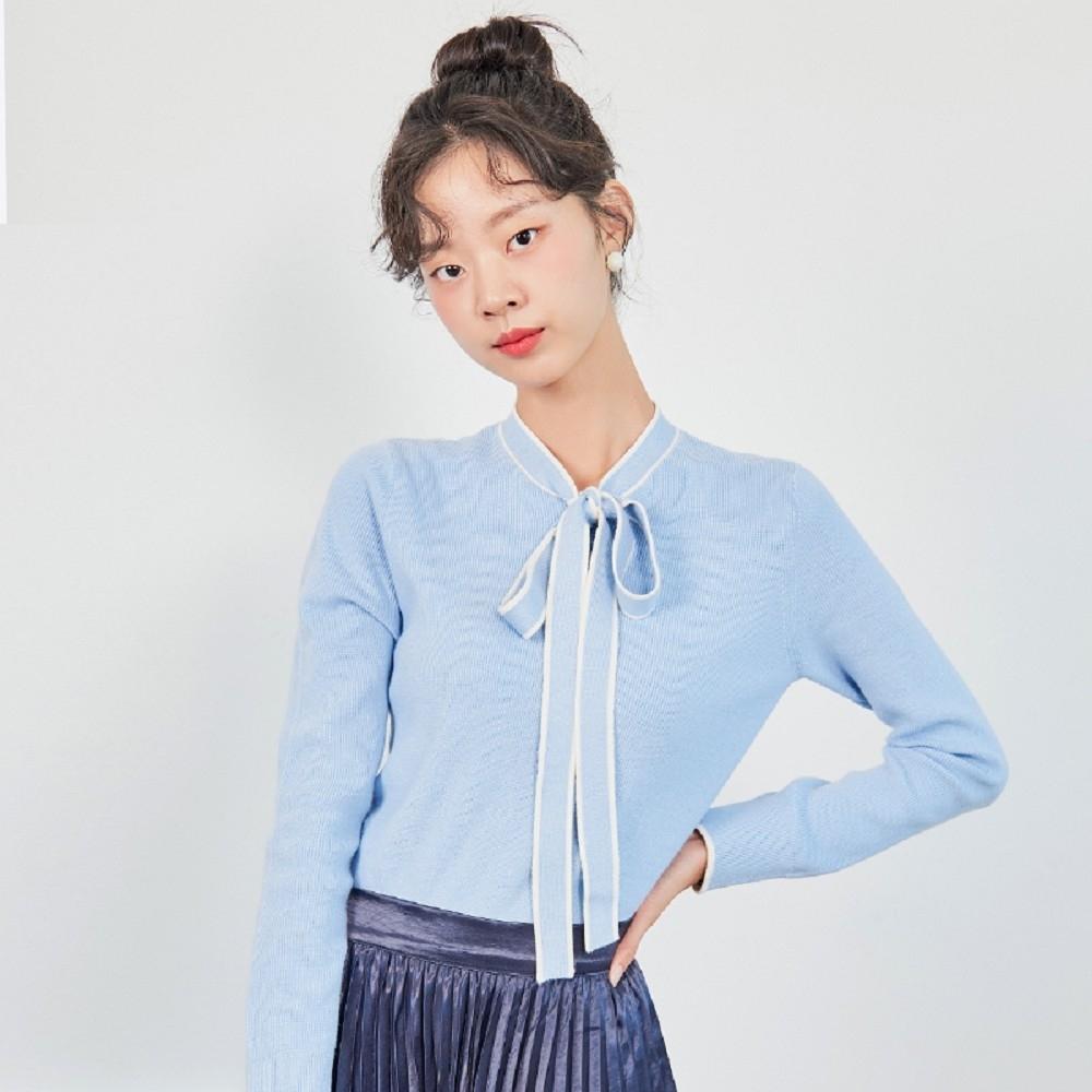 針織上衣 氣質雙色繫帶長袖針織衫MX10202-創翊韓都