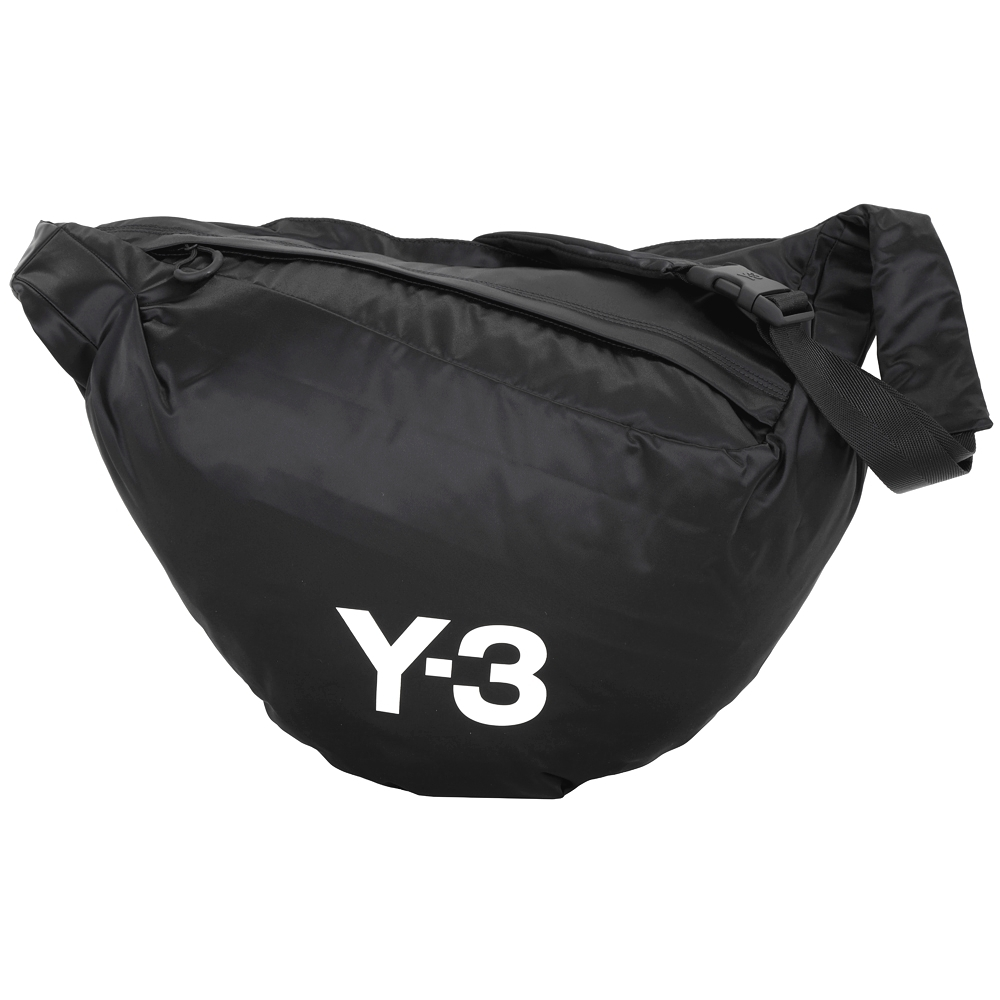 Y-3 SNEAKER 字母緞尼龍彎月肩背包(黑色) product image 1