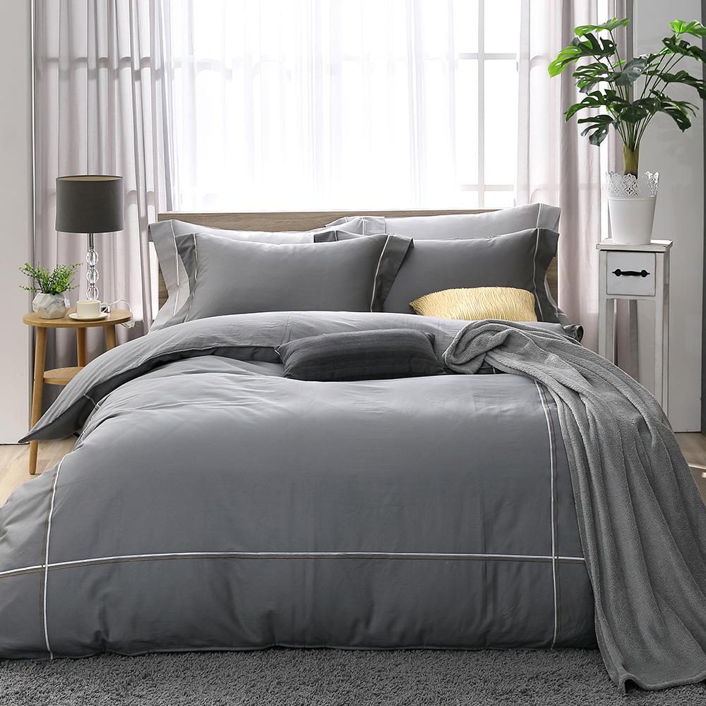 LASOL睡眠屋-300織雙色刺繡設計款精梳棉 加大兩用被床包四件組 奧丁灰