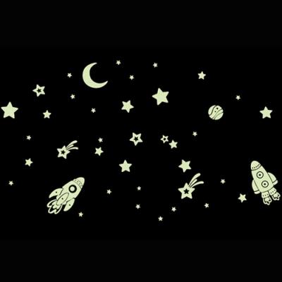 JB時尚壁貼-夜光太空火箭