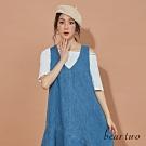 beartwo-剪接裙襬無袖洋裝-淺藍