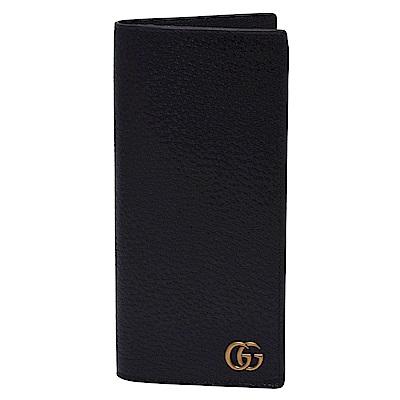 GUCCI 經典GG Marmont系列復古金屬GG LOGO壓紋牛皮直式長夾(黑)