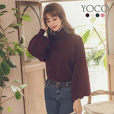 東京著衣-yoco 優雅韓風多色高領澎袖針織上衣-S.M.L(共四色)