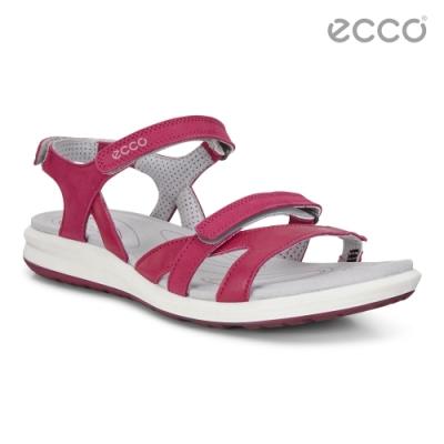 ECCO CRUISE II 輕盈雙色交叉細帶休閒涼鞋 女鞋-紫紅色