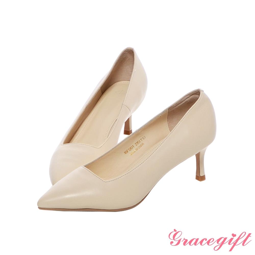 Grace gift X尖如-好走尖頭真皮高跟鞋 米白