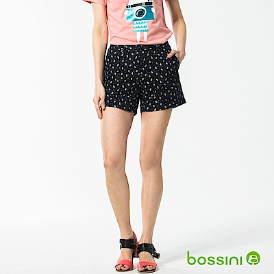 bossini女裝-休閒印花短褲01海軍藍