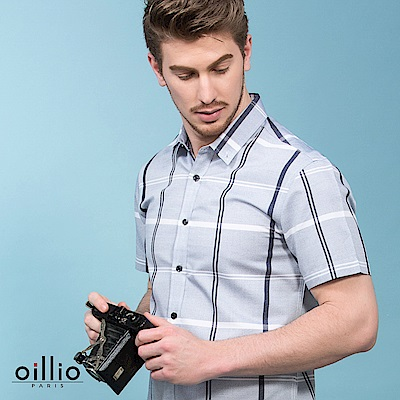 歐洲貴族oillio 短袖襯衫 竹纖維布料 大格紋設計 灰色