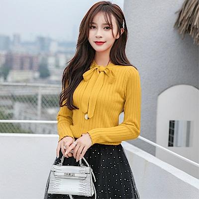 DABI韓系溫柔風蝴蝶結針織長袖上衣