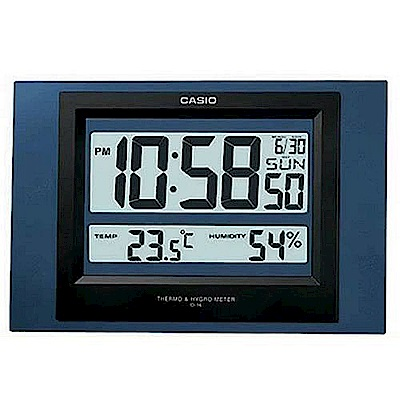 CASIO 數位溫度顯示掛鐘/座鐘兩用(ID-16)-藍色外殼