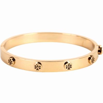 TORY BURCH Logo Stud Hinge 金色雙T盾牌鉚釘黃銅手環