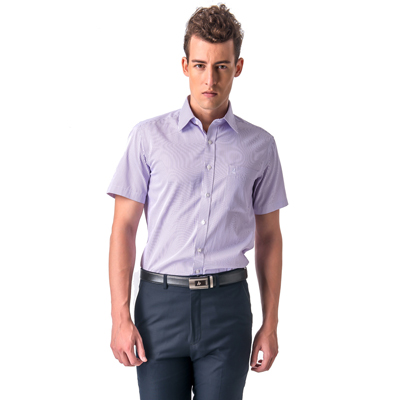 【金安德森】 紫色條紋窄版短袖襯衫fast